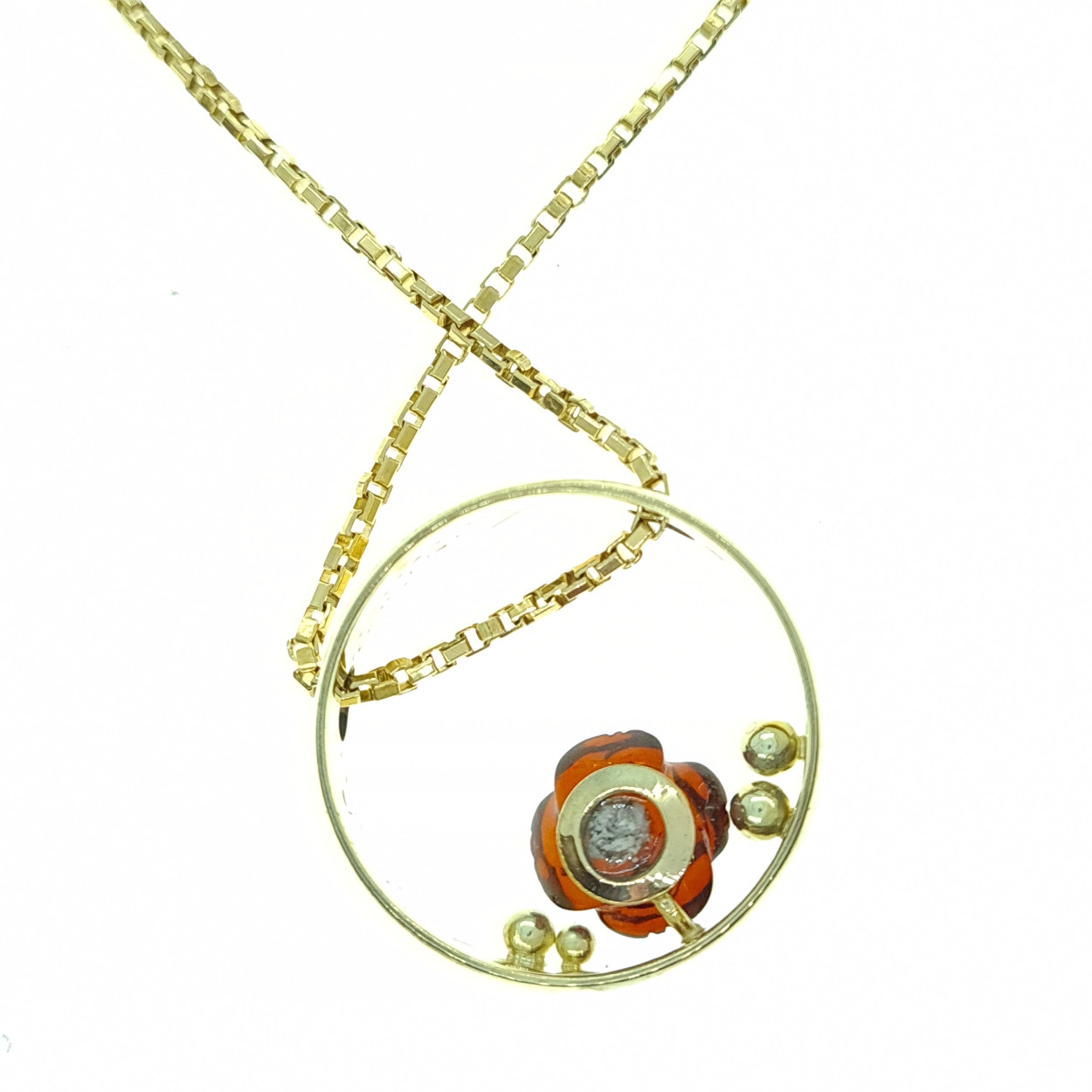 Hanger geelgoud met amber - Herinneringssieraad - Edelsmederij puur & pracht Helvoirt