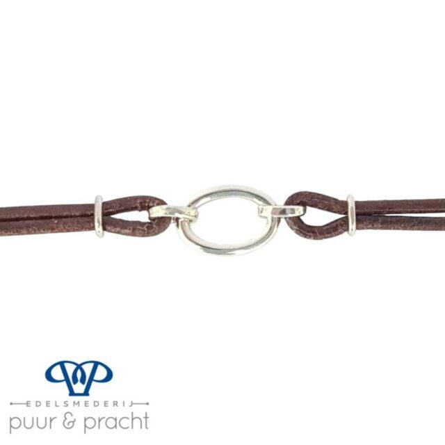 Armband zilver leer - Edelesmederij Puur & Pracht