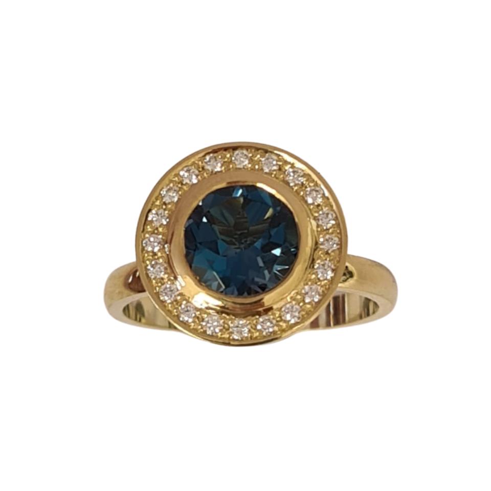 Ring geelgoud met topaas en diamant - Edelesmederij Puur & Pracht